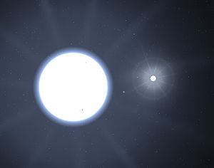 Sirius - A simulated image of Sirius A and B using Celestia