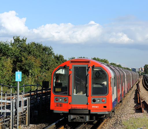 Central Line London Underground departs Perivale station