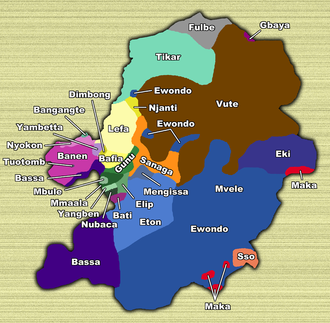 Centre Region (Cameroon) - Territories of ethnic groups in the Centre Province