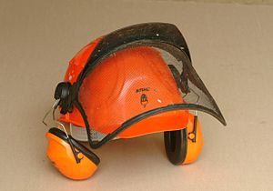 Ear defenders and visor on a safety helmet