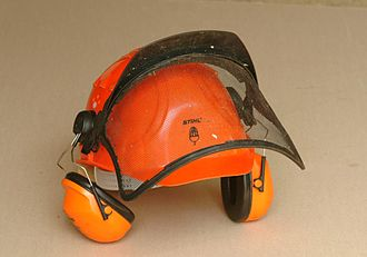 Earmuffs - Ear defenders and visor on a safety helmet