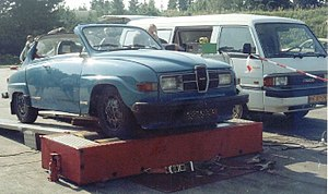 Dynamometer - Saab 96 on chassis dynamometer