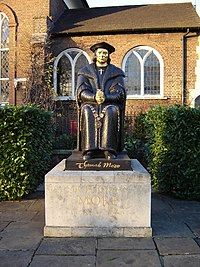 Statue of Thomas More in front of Chelsea Old Church, Cheyne Walk, London.