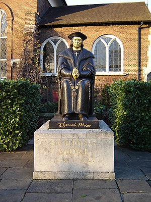 Chelsea, London - Statue of Thomas More on Cheyne Walk with Chelsea Old Church in the background (2006)