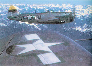 RAF Chilbolton - Republic P-47D-30-RE Thunderbolt Serial 44-20456 of the 397th Fighter Squadron on an escort mission over the German Alps.