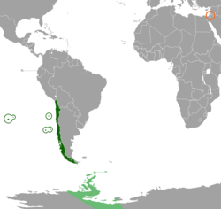 Map indicating locations of Chile and Israel