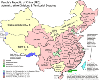 Outline of China - An enlargeable map of the administrative divisions of the People's Republic of China