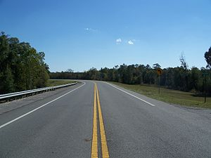U.S. Route 90 - US 90, near the Choctawhatchee River, looking east