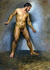 Nude man standing.