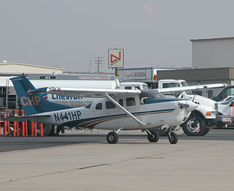 California Highway Patrol - A CHP Cessna 206 prepares to depart Meadows Field Airport, Bakersfield, California