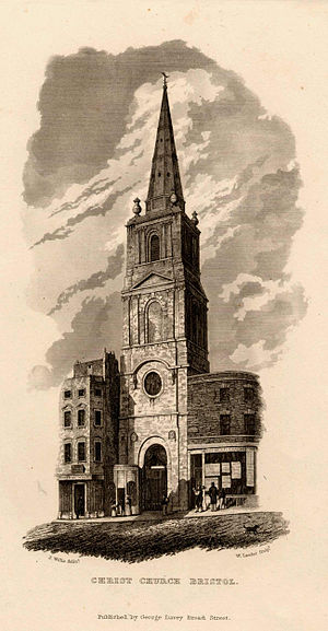 Christ Church with St Ewen - Printed engraving of Christ Church with St Ewen, Bristol, UK, from c.1838 looking north onto the doorway and church tower. On the left and right of the image can be seen the surrounding shops on Broad Street. The image shows 4 children and a cat in a street scene.