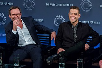 Mr. Robot - Christian Slater and Rami Malek speaking as part of the Mr. Robot panel during the 2015 PaleyFest.