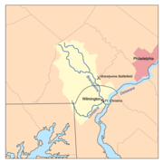 A map of Brandywine Creek showing the location of the Brandywine Battlefield
