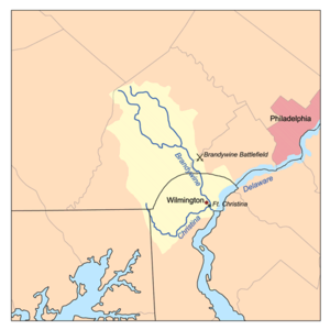Brandywine Battlefield -  A map of Brandywine Creek (Christina River) showing the location of Brandywine Battlefield Park
