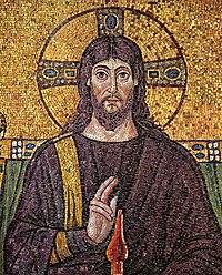 A 6th century mosaic of :en:Jesus at Church Sa...