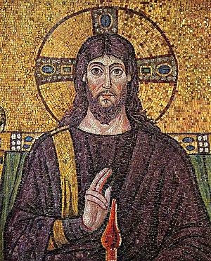 Christian atheism - 6th-century mosaic of Jesus at Basilica of Sant'Apollinare Nuovo in Ravenna.