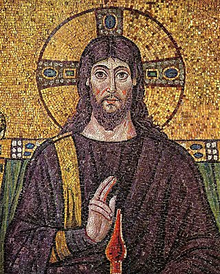 "Christ Pantokrator mosaic, Ravenna, 6th century: Jesus' hand is shown lifted in blessing in the position used by Orthodox priests (evoking the abbreviation of his name in Greek, ""IC XC""). Christus Ravenna Mosaic.jpg"