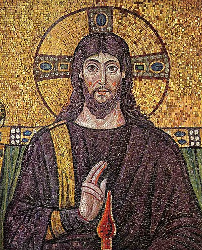 A 6th century mosaic of Jesus at Church San Ap...