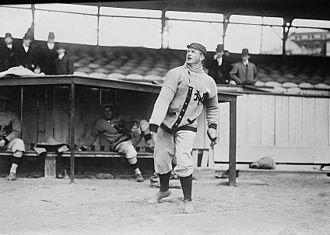 Christy Mathewson - Mathewson warming up as a New York Giant in 1910