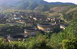 Chuxi tulou cluster in Chuxicun, Xiyang, یانگدینگ.