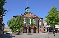 The rådhus (city hall), where the municipal council convenes.