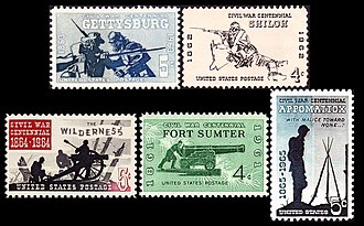Commemoration of the American Civil War on postage stamps - In 1961 the USPS began a release of five famous battle commemoratives at the 100th anniversary of each battle.