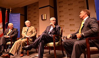 Howard H. Baker Jr. Center for Public Policy - Governors Haslam, Bredesen and Sundquist, along with moderator, Bill Haltom discussing civility in politics during a 2013 lecture.