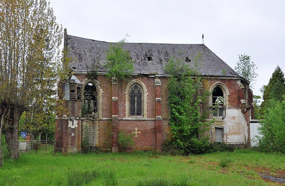Clairmarais (département du Pas-de-Calais, France): dilapidated chapel of the former St Bernard's school (also called 'Alumnat de Jésus-Naissant')