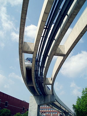 Indiana University Health People Mover - Image: Clarian people mover underneath duorail and piping