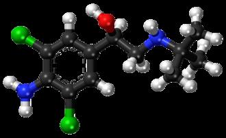 Clenbuterol - Clenbuterol (top), and (R)-(−)-clenbuterol (bottom)