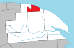 Location within La Côte-de-Gaspé RCM.
