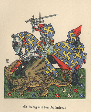 Art of the Third Reich - A Nazi St George killing the dragon (Flealeaf of a book about Heraldry)