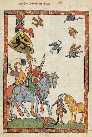 Medieval people engaging in falconry from hors...