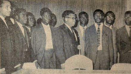 Kasa-Vubu with the members of the College of Commissionaires-General, installed by Mobutu in September 1960 College of Commissioners.jpg
