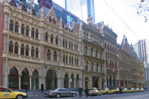 William Pitt (architect) - On Collins Street, Pitt designed both the Olderfleet building (left), and the Rialto (far right)