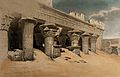Columns of the temple at Idfu, Egypt. Coloured lithograph Wellcome V0049311.jpg