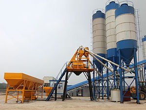 "Concrete plant - Different with the belt conveyor concrete plant, hopper ""skip hoist"" lift concrete plant transport aggregates to the mixer by a hopper, which is a slower way of transporting aggregate."