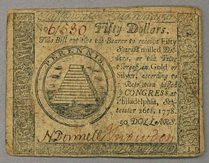History of the United States dollar - This $50 Continental Currency note (from 1778) was designed by Francis Hopkinson. The unfinished pyramid design was a precursor to the reverse side of the Great Seal of the United States.