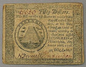 Annuit cœptis - Image: Continental $50 note 1778