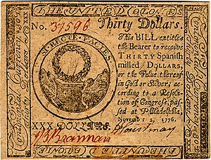 Continental Currency $30 banknote obverse (November 2, 1776).jpg