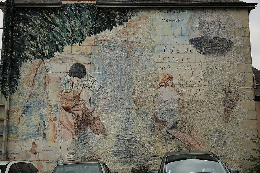 Mural for basketry and its history in Villaines-les-Rochers