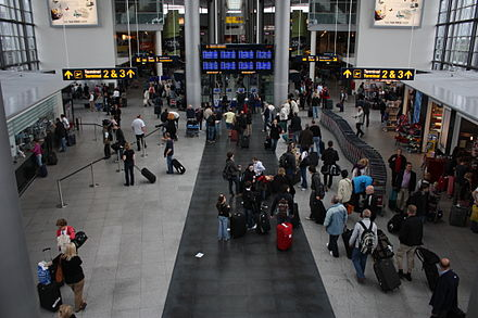 Copenhagen Airport is the largest airport in Scandinavia and 15th-busiest in Europe. Copenhagen Airport Mai 2009 PD 131.JPG