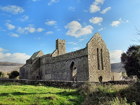 Corcomroe Abbey is the final resting place of Conor na Siudane Ua Briain, who has a stone effigy there. Corcomroe.JPG