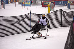 Corey Peters competing in the Super G during the 2012 IPC Nor Am Cup at Copper Mountain
