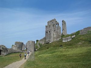 "Pavane (novel) - Ruins of Corfe Castle, ""slighted"" as in the story."