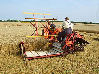 Reaper-binder - A Massey-Harris reaper-binder pulled by a tractor (Rutland, England, 2008)