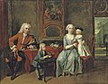 Cornelis Troost - A family portrait of a gentleman, his wife handing an apple to the daughter and their son feeding a parrot, all in an interior, a park beyond H0027-L05801202.jpg