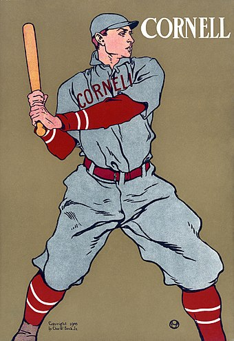 A 1908 print depicting a Cornell baseball player Cornell Baseball2.jpg