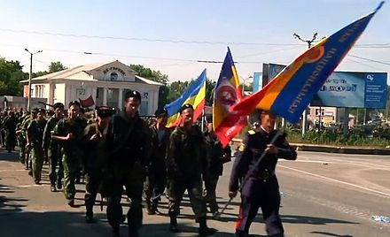 Don Cossack National Guard ceremonial parade in Perevalsk, 7 September 2014 Cossacks National Guard, 7 September 2014.jpg