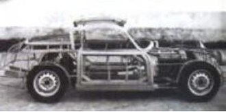 Bandini 1000 GT - Bandini 1000 GT with the body removed, showing the tubular chassis.